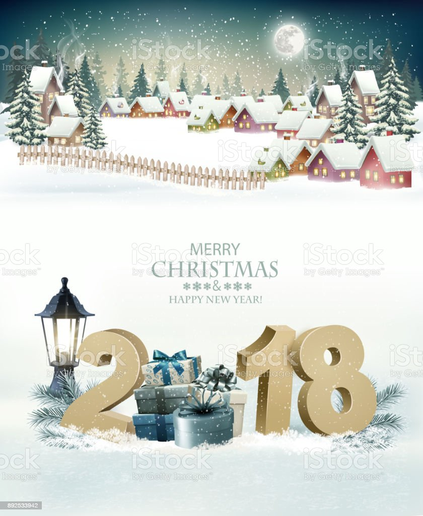 Holiday Christmas Background With A Winter Village And 2018 Vector ...
