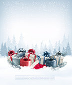 Holiday Christmas background with gift boxes and Santa hat. Ve