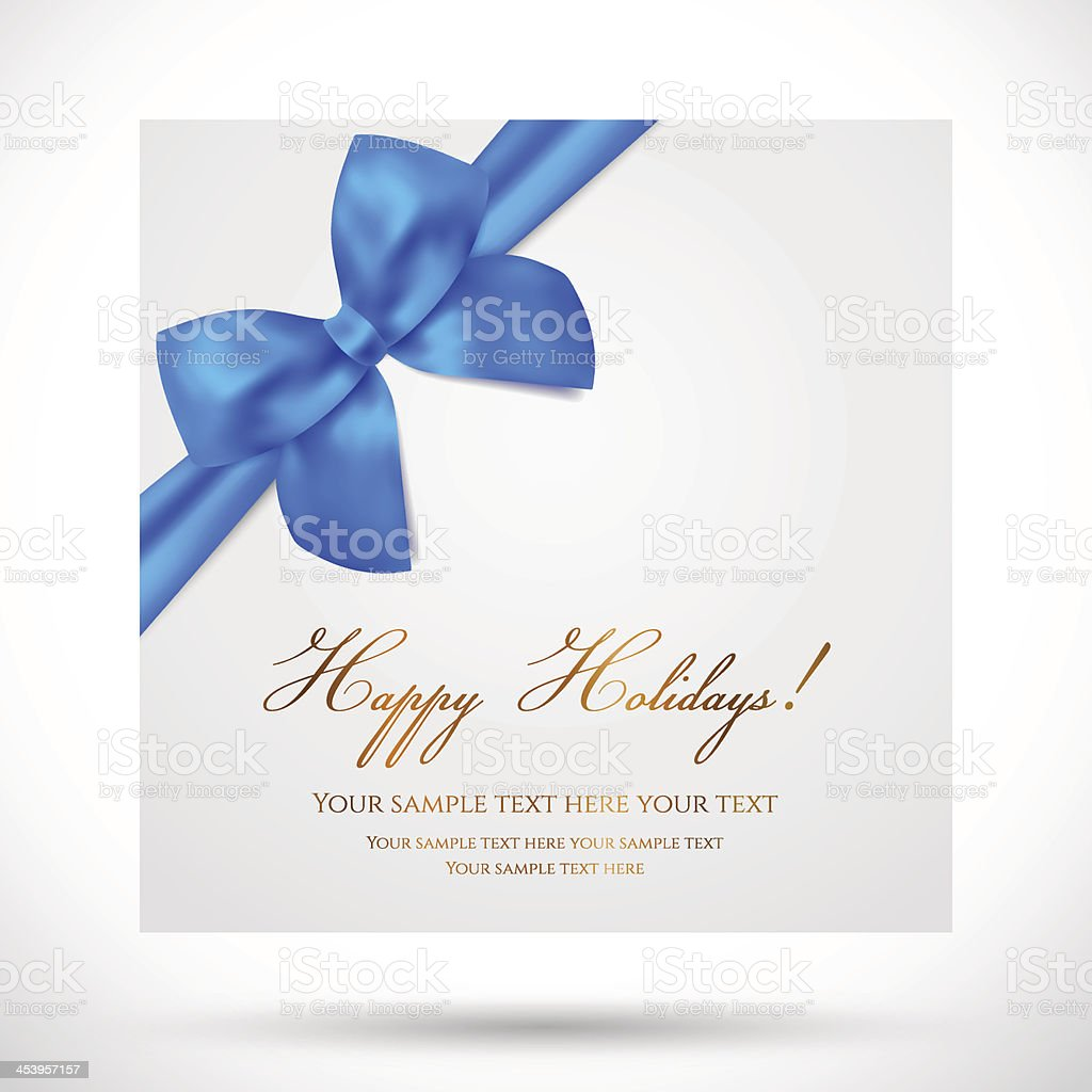 holiday christmas birthday gift greeting card template with blue bow