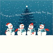 istock Holiday Christmas card with singing snowmen 459500353