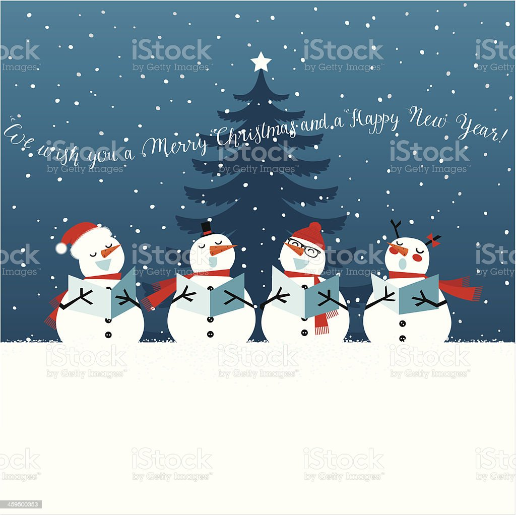 Holiday Christmas card with singing snowmen vector art illustration