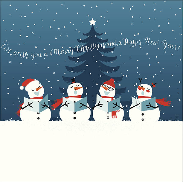 Holiday Christmas card with singing snowmen Group of snowman singing Christmas carols under the Christmas tree. Christmas card with lettering. snowman stock illustrations