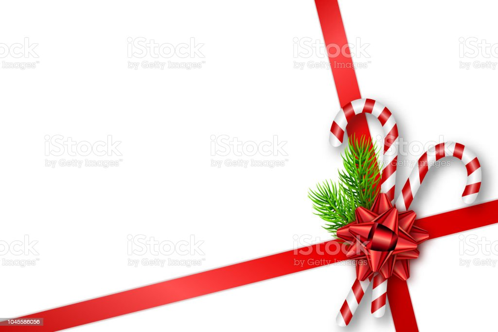 Holiday Christmas Gift Card With Red Bow Fir Tree Branches And Candy