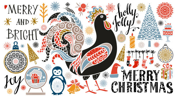 Holiday Christmas icons, symbols, signs Holiday Christmas icons, symbols, signs. Isolated on white background. Merry Christmas, Holly jolly text, handwritten chicken bird stock illustrations