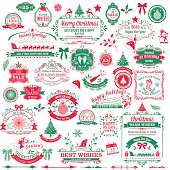 Holiday Christmas Label Tag Set. large assortment of seasonal red & green christmas ornaments and labels.