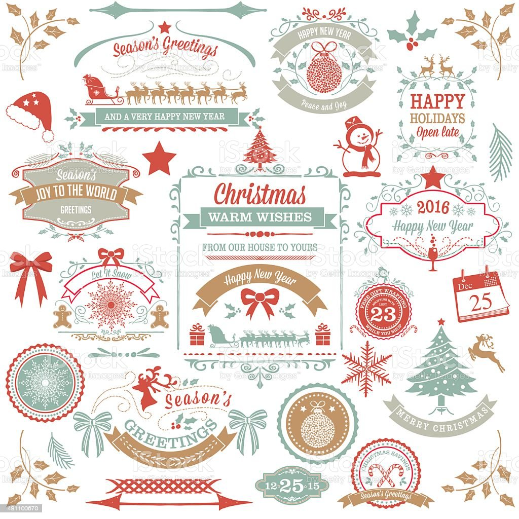 Holiday Christmas Label Tag Set vector art illustration