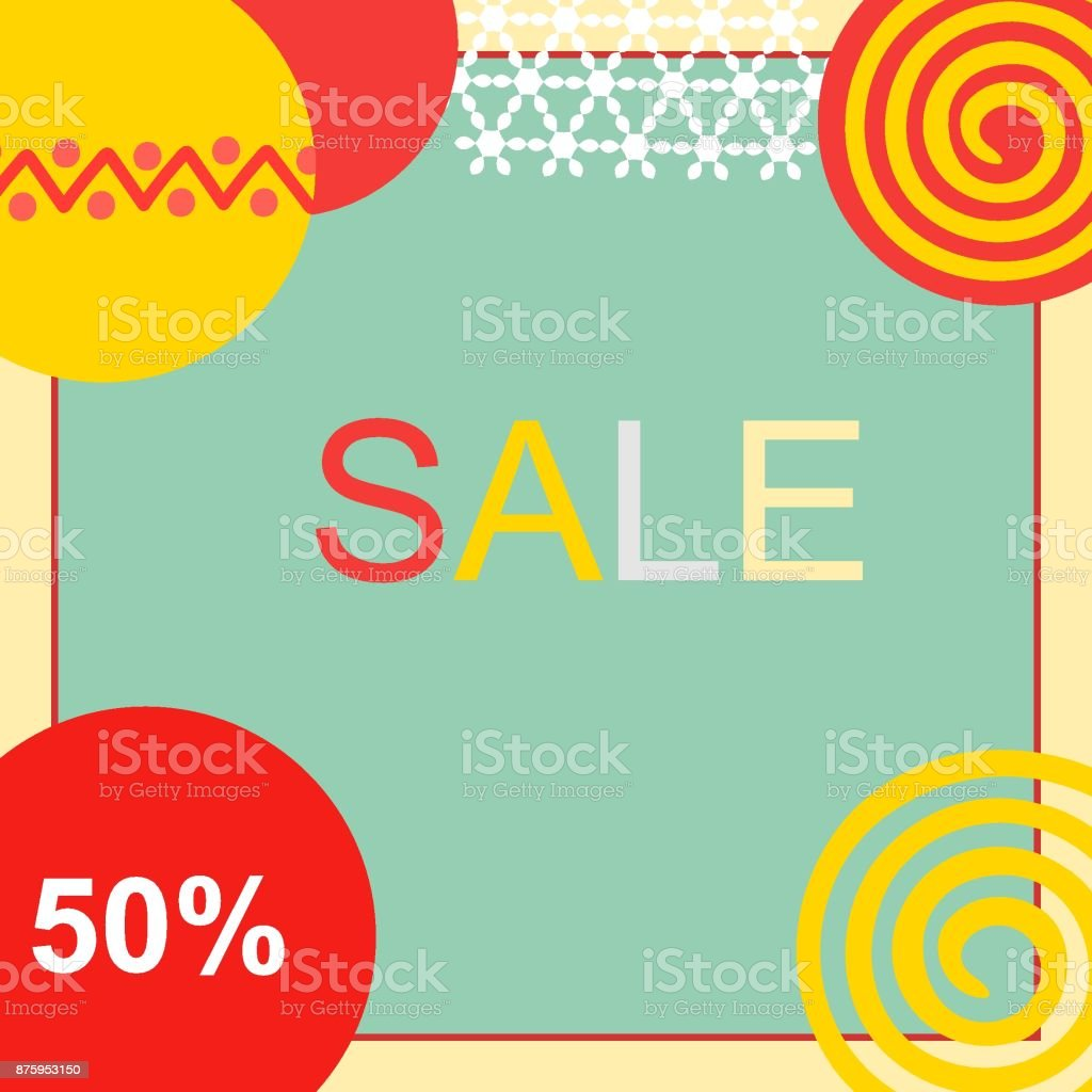 Holiday Christmas New Year Sale Banner. Red Yellow Balls Ornament Blue Background Frame. Copy Space for Text. Price Percentage Hipster Style vector art illustration