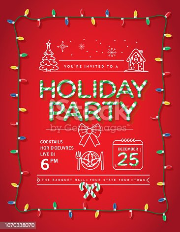 Vector illustration of a modern Holiday Christmas Party Invitation Design Template with candy cane text, Christmas Lights and line art icons. Fully editable and customizable.