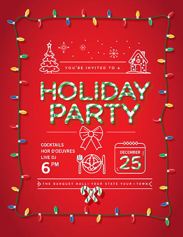 Holiday Christmas Party Invitation Design Template with candy cane text and line art icons