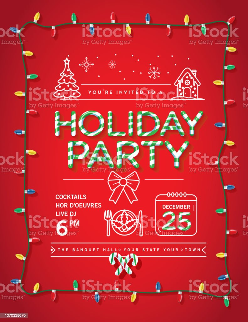 Royalty Free Red Christmas Party Invitation Template With Bow And