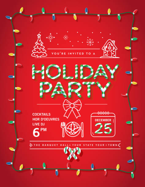 holiday christmas party invitation design template with candy cane text and line art icons - oświetlenie bożonarodzeniowe stock illustrations