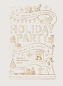 Holiday Christmas Party Invitation Design Template with line art icons