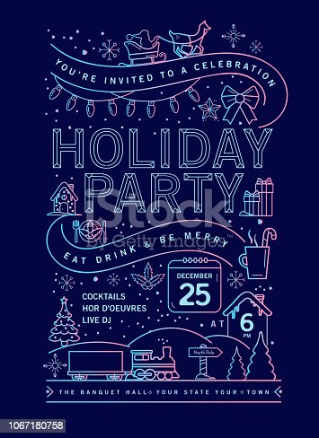 Vector illustration of a modern Holiday Christmas Party Invitation Design Template with line art icons. Fully editable and customizable.