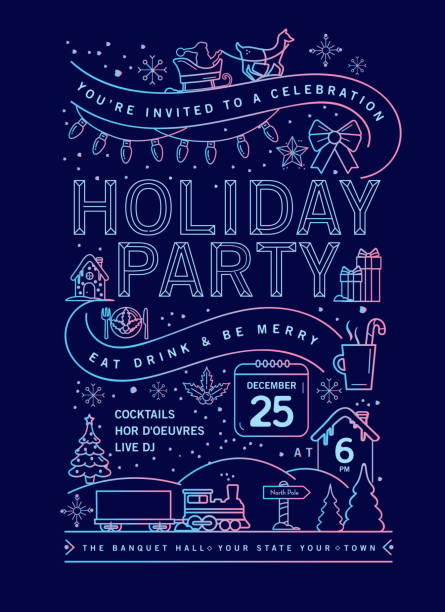 Holiday Christmas Party Invitation Design Template with line art icons Vector illustration of a modern Holiday Christmas Party Invitation Design Template with line art icons. Fully editable and customizable. blue clipart stock illustrations