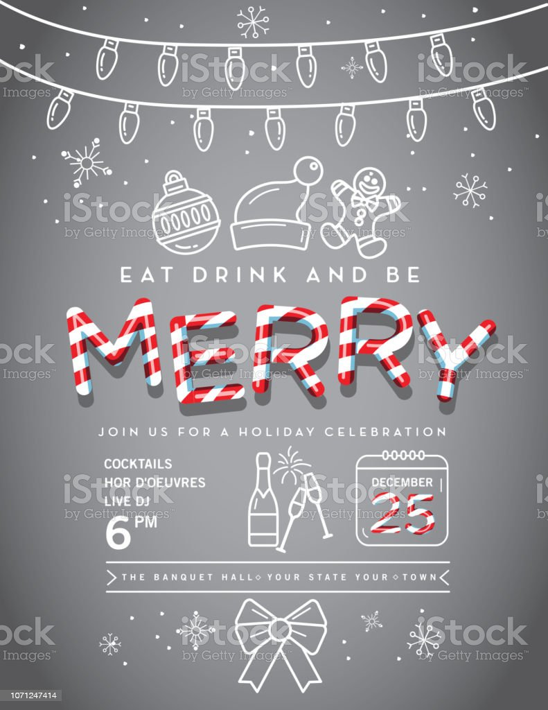 Vector illustration of a modern Holiday Christmas Party Invitation...