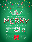 Vector illustration of a modern Holiday Christmas Party Invitation Design Template with line art icons, Candy cane font style that reads: Eat Drink and Be Merry. Cute Christmas string lights. Fully editable and customizable.