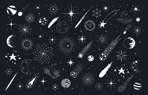 Holiday Christmas pattern with stars, comets, galaxy, sun and moon. Kids doodle wallpaper.