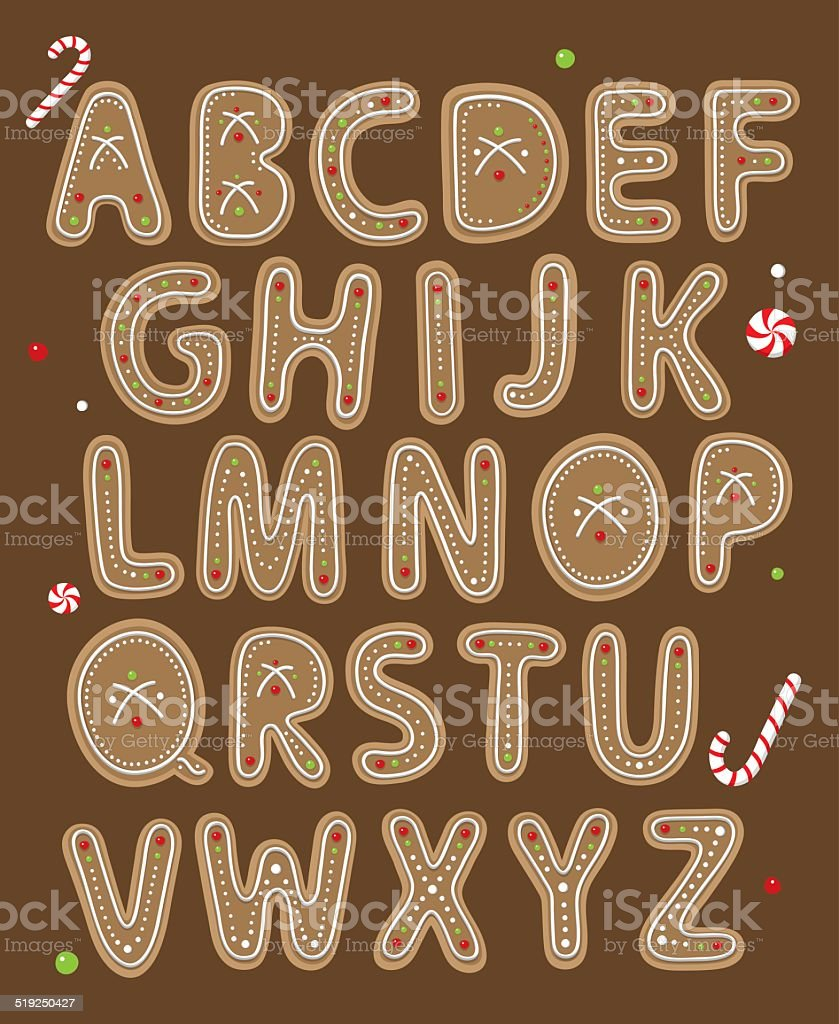 Holiday cookie secorative typeface vector art illustration