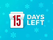 Holiday countdown flip number with snowflakes.