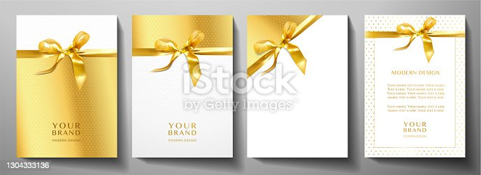 istock Holiday cover design set. Luxury gold background with stars pattern and golden ribbon 1304333136