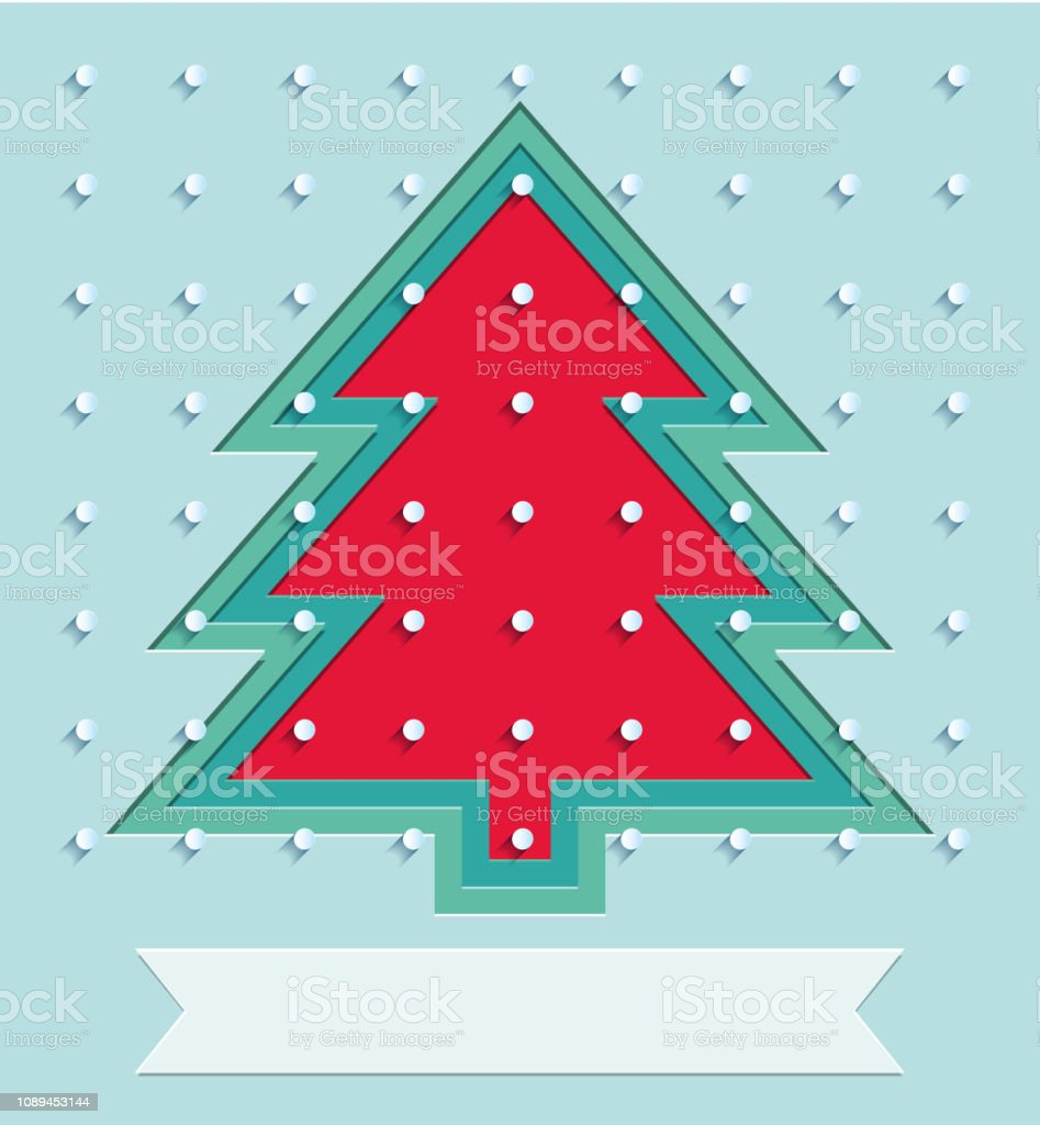 Holiday cover for Happy New Year events. xmas tree and snow on...