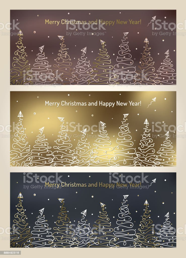 holiday creative card set christmas tree snow paper airplane new year luxury