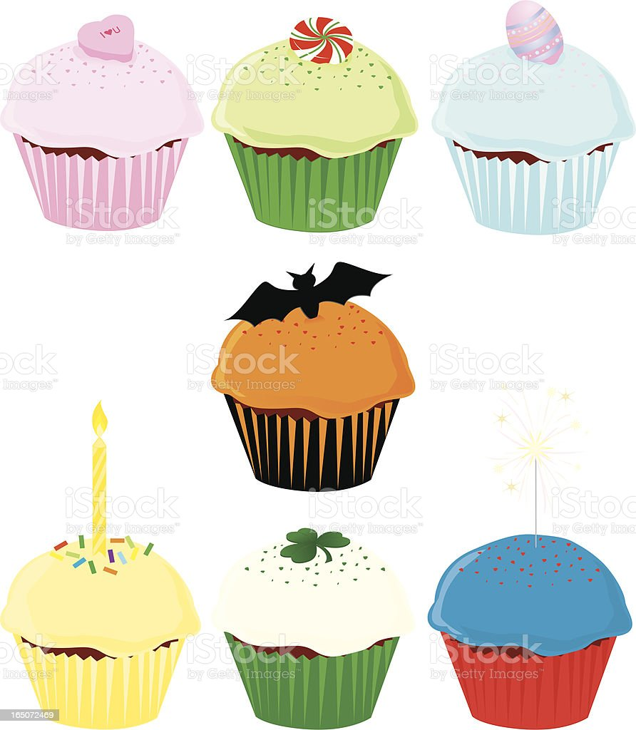 Holiday Cupcakes royalty-free holiday cupcakes stock vector art & more images of baked