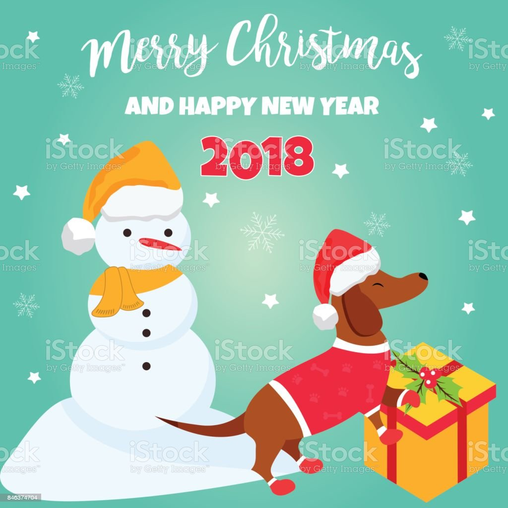 holiday dachshund and winter scene christmas or new year background perfect for the year