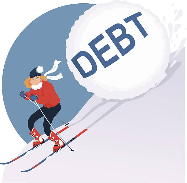 Holiday Debt Cartoon woman running on skis from an avalanche of winter holidays debt, vector illustration, no transparencies EPS 8 avalanche stock illustrations