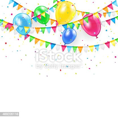 Holiday background with colorful balloons, pennants and confetti, illustration.