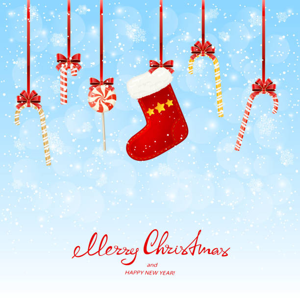Holiday decorations with lollipops and Christmas stocking on snowy background Lettering Merry Christmas and Happy New Year with holiday decorations. Red Christmas sock and candy canes on a white wooden background, illustration. christmas stocking stock illustrations