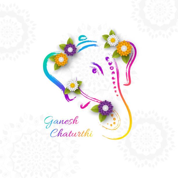 ferien-design für traditionelle indianerfest von ganesh chaturthi. handgezeichnete abbildung mit papier stil schnittblumen. grunge rangoli weißen hintergrund, vektor-illustration. - ganesh stock-grafiken, -clipart, -cartoons und -symbole