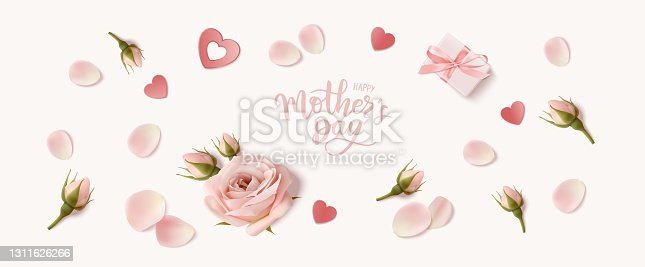 istock Holiday design template with realistic pink rose, bud, petal and gift box for Mothers day or wedding decoraion. Happy Mother's day greeting lettering text. 1311626266