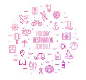 Holiday destinations and schedule outline style symbols on modern gradient background. Line vector icons for infographics, mobile and web designs.