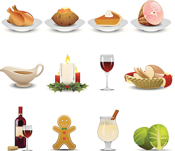 illustrazioni stock, clip art, cartoni animati e icone di tendenza di cena in vacanza icone - tavola imbandita