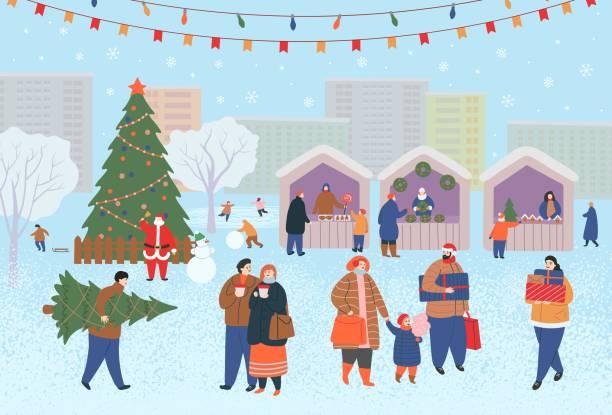 weihnachtsmarkt, weihnachtsmarkt am tag im park oder stadtplatz mit menschen, kiosken und einem weihnachtsbaum. menschen zu fuß, geschenke kaufen, kaffee trinken, skaten. flache cartoon-vektor-illustration - weihnachtsmarkt stock-grafiken, -clipart, -cartoons und -symbole