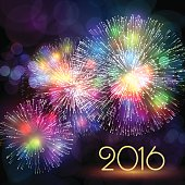 Holiday background with multi-colored Fireworks and 2016 text. Vector illustration EPS10.