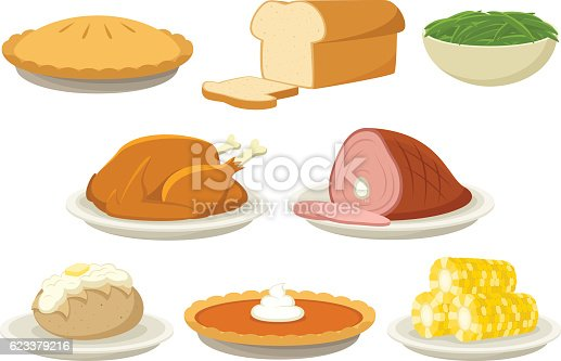 Vector illustration of a variety of holiday (Thanksgiving and Christmas) foods. Illustration uses no gradients, meshes or blends, only solid color. Both AI10-compatible .eps and a high-res .jpg are included.
