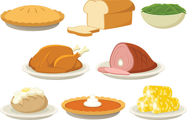 Holiday Food Vector illustration of a variety of holiday (Thanksgiving and Christmas) foods. Illustration uses no gradients, meshes or blends, only solid color. Both AI10-compatible .eps and a high-res .jpg are included. poultry stock illustrations