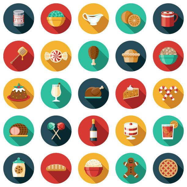 illustrazioni stock, clip art, cartoni animati e icone di tendenza di set di icone alimenti per le vacanze - christmas cooking