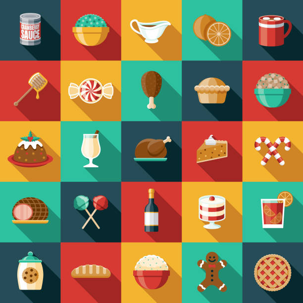 Holiday Foods Icon Set A set of icons. File is built in the CMYK color space for optimal printing. Color swatches are global so it's easy to edit and change the colors. christmas icons stock illustrations