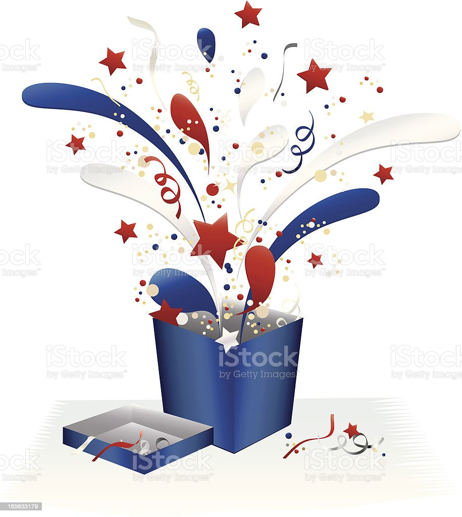 Holiday Fourth of July Gift Box and Confetti Celebration Design royalty-free holiday fourth of july gift box and confetti celebration design stock vector art & more images of blue