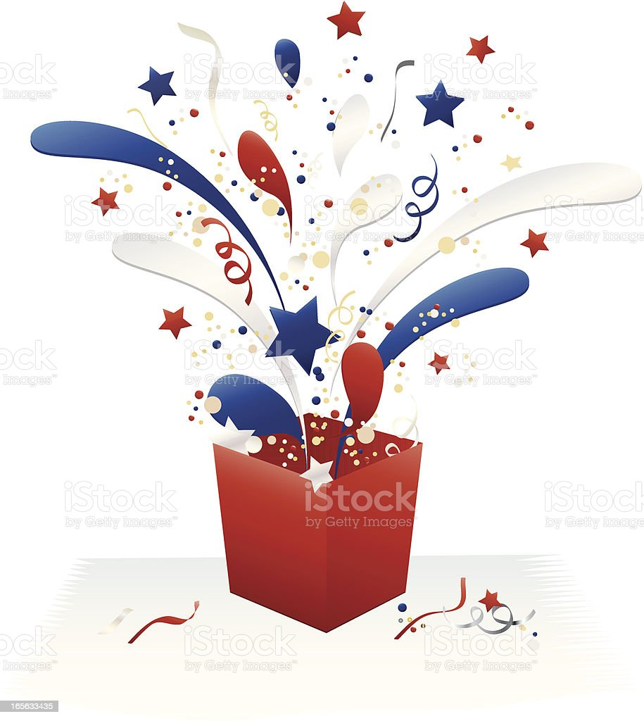 Holiday Fourth of July Gift Box and Confetti Celebration Design royalty-free stock vector art
