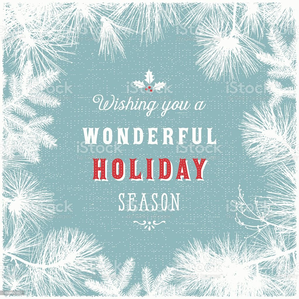 Holiday Frame Background with Evergreen Branches vector art illustration