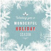 Holiday Frame Background with Evergreen Branches