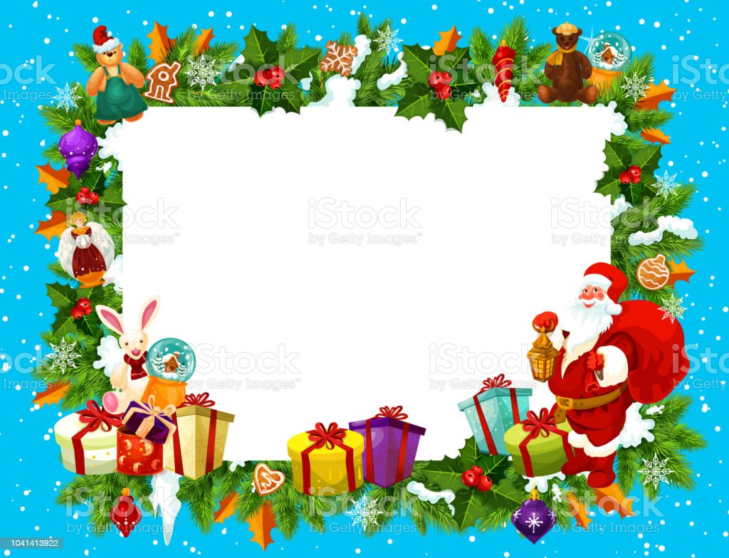 Holiday Frame For Merry Christmas With Santa Claus Stock