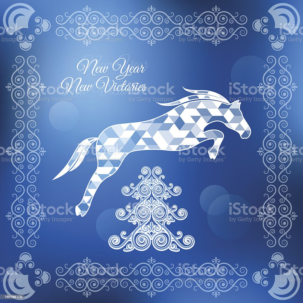 holiday frame happy merry christmas new year horse