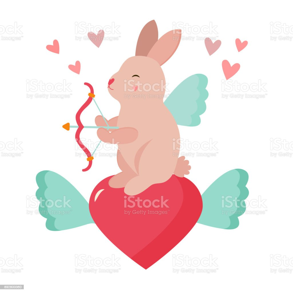 Holiday funny cupid rabbit with bow amd hearts