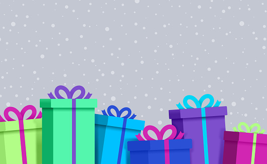 Rainbow Vibrant Wrapped Gift boxes and packages with snow background pattern.