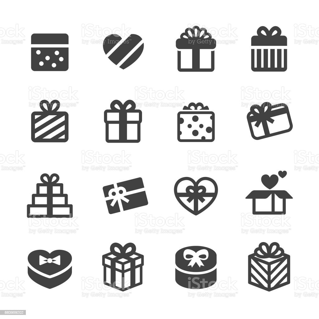 Holiday Gift Boxes Icons - Acme Series vector art illustration